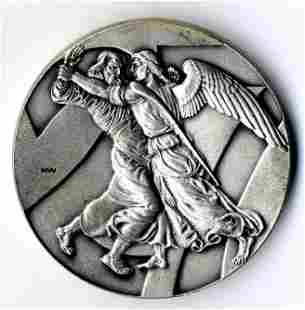 Pure Silver Medal Yaakov and the Angel