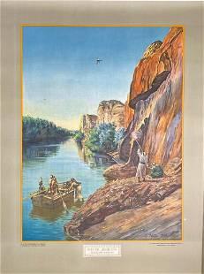 The Jordan River Large Impressive Color Lithograph by