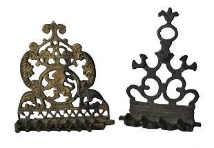 Group of 3 Backplate Chanukiahs for Hanging Bronze