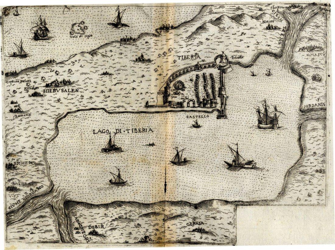Map of Tiberius and the Sea of Galilee. Lago di
