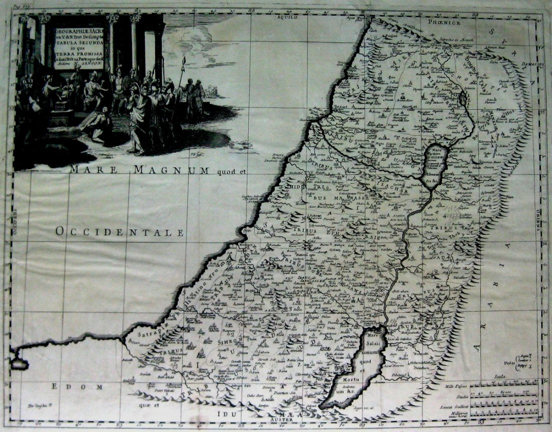 A Map of the Holy Land divided among the Twelve Tribes.