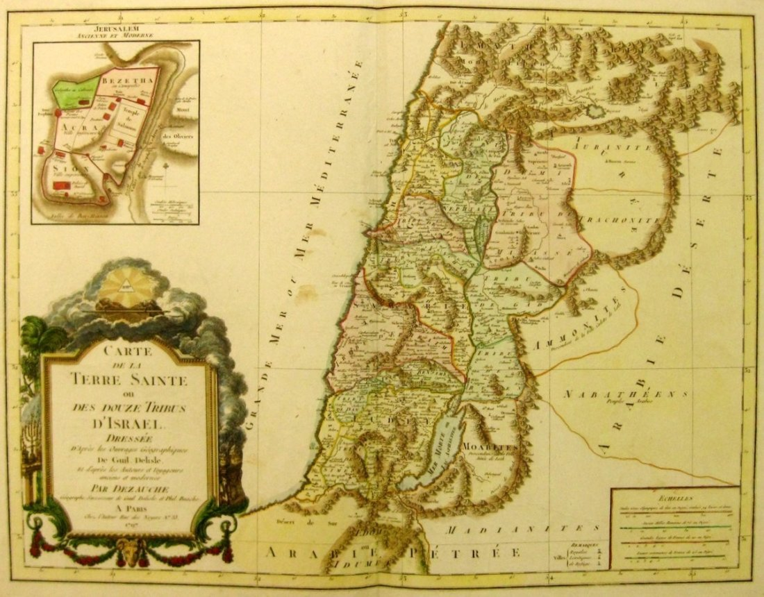 Map of the Holy Land Divided amongst the Twelve Tribes.