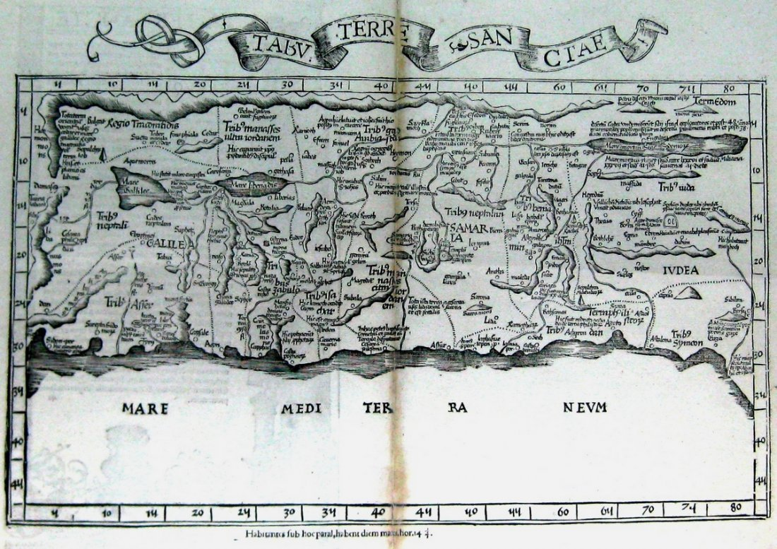 Map of the Holy Land divided among the Twelve Tribes.