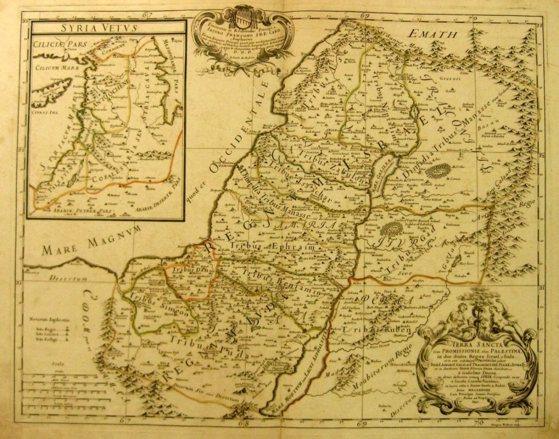 Map of the Holy Land Divided to Judea and Israel, the