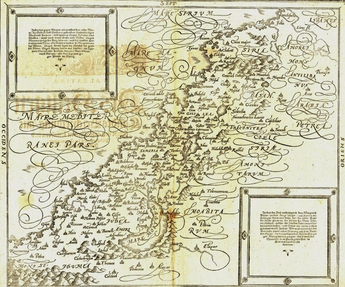 Map of the Holy Land. Munster. Basle, 1588.
