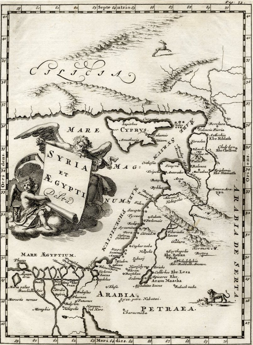 Map of the Holy Land and its Environs. Bochart Samuel.