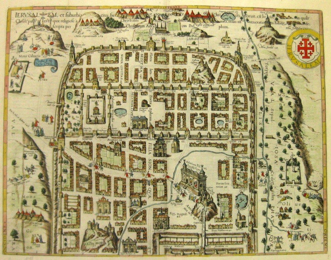 Map of Jerusalem. Braun & Hogenberg. Koln, 1593.