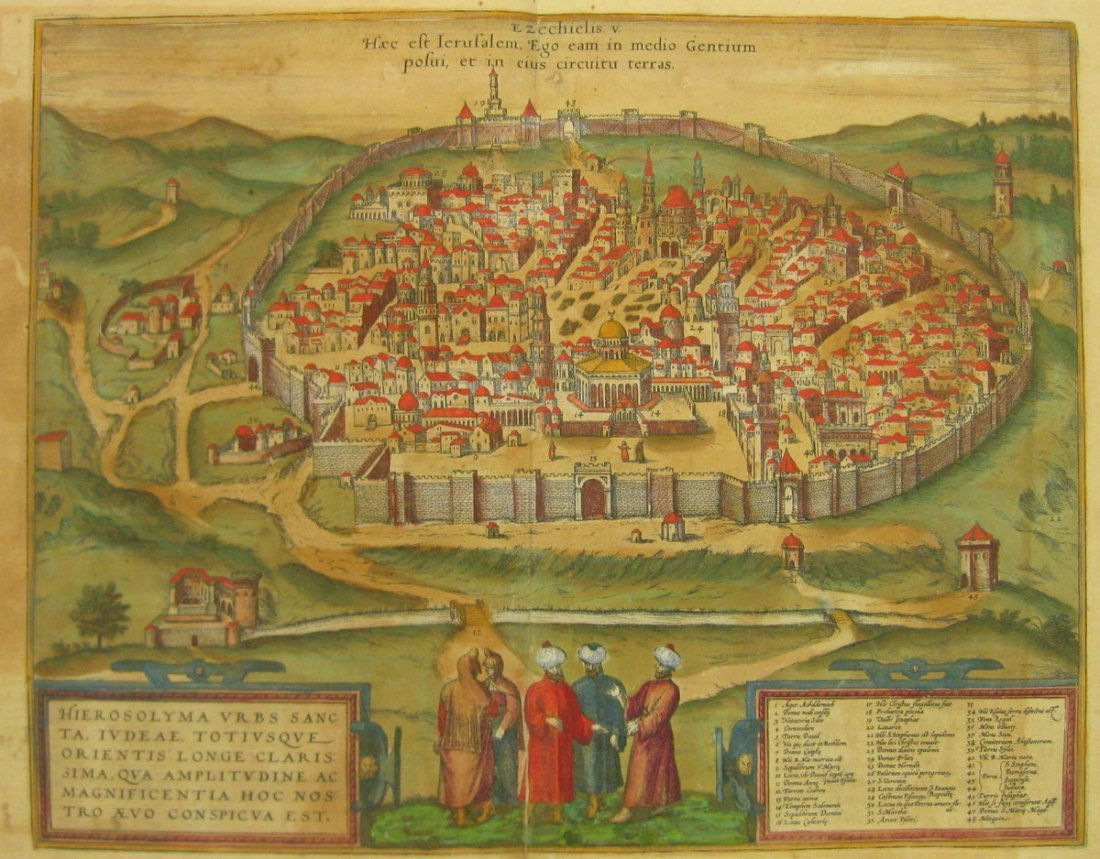 Map of Jerusalem. Braun & Hogenberg. Koln, 1582.