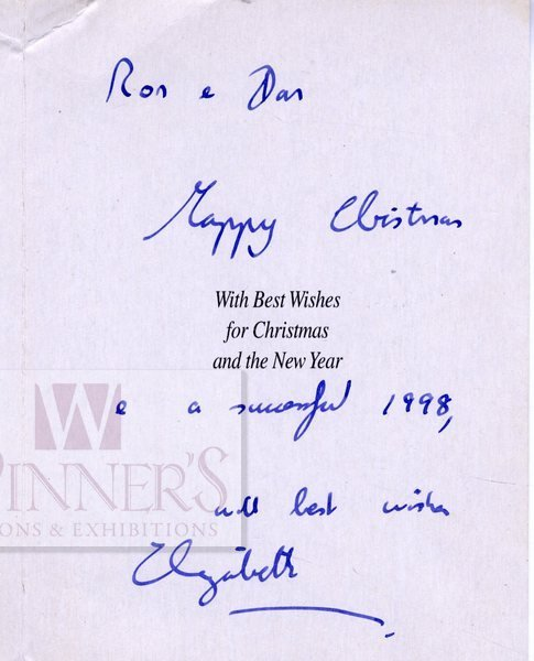 Postcard with Dedication Written by the Queen of