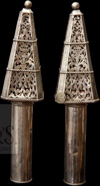Finials for a Sefer Torah. Silver. France, Mid-19th