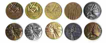 30 Collection of Holocaust Medals [10]. Bronze. Israel.