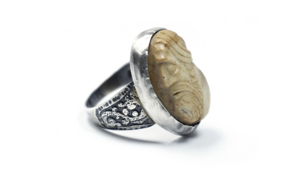 Silver Ring with Stone Signet. Bezalel Work?
