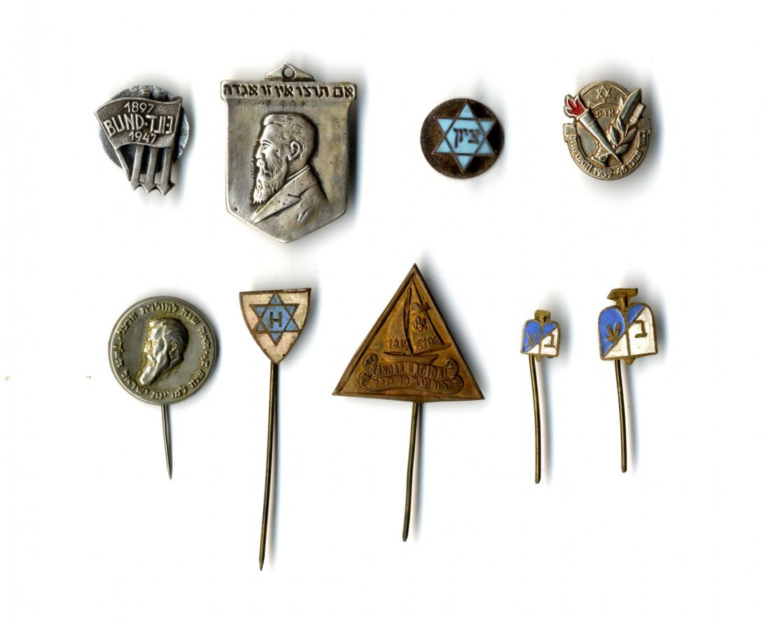Collection of Jewish Pins and Badges. 9.