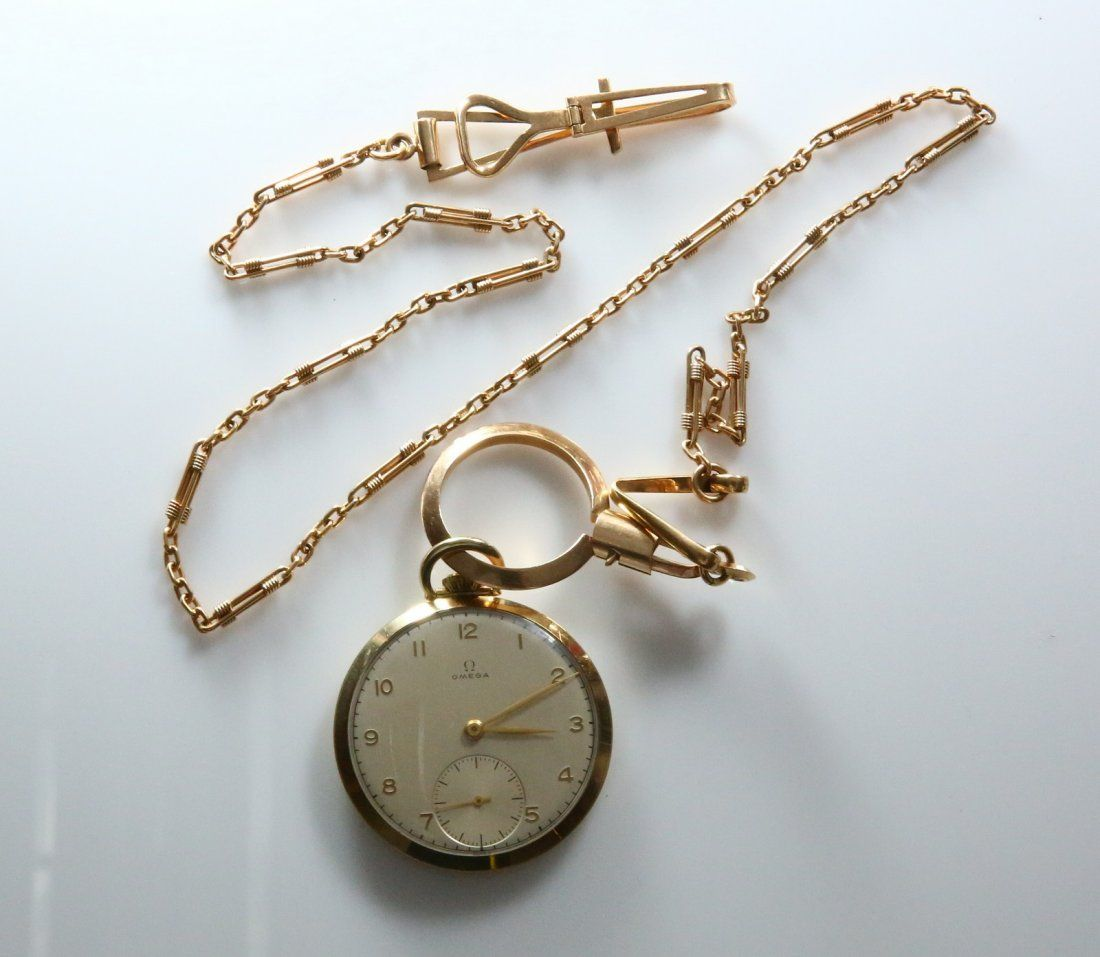 14K Omega Pocket Watch. With Gold Chain, 18K