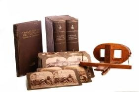 Collection of stereoscopic photos/book/stereoscope