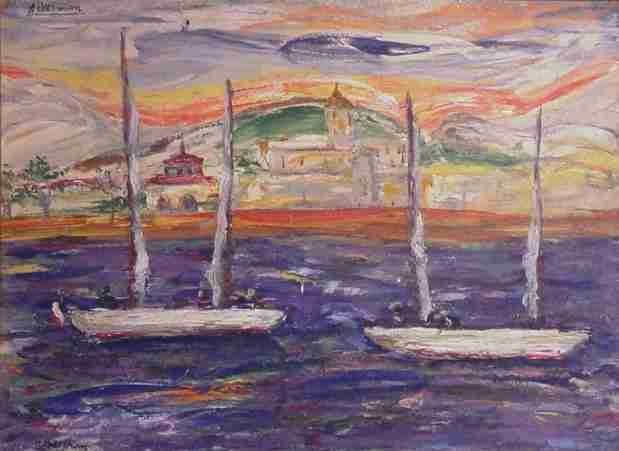 French Riviera Sailboats Gouache by Paul Ackerman