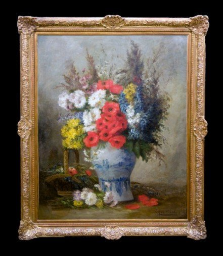 RARE Edmond Van Coppenolle Still Life with Flowers