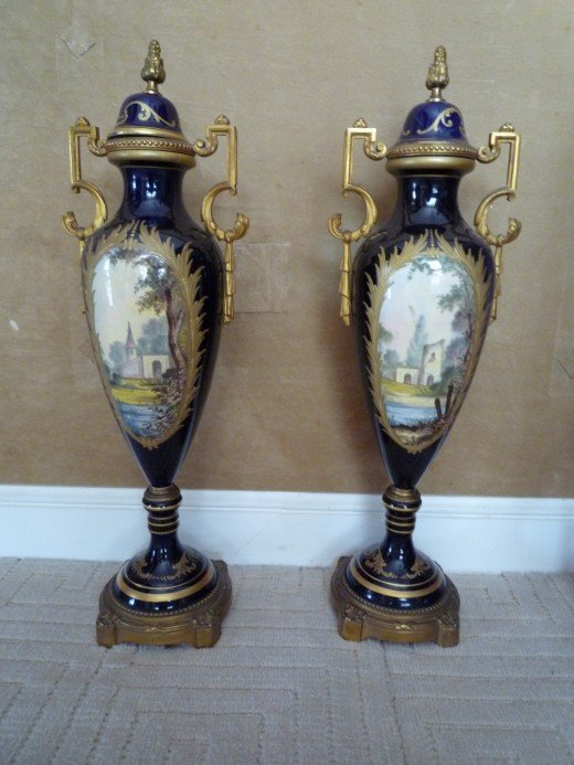 Pair of 19th Century Porcelain Sevres Urns