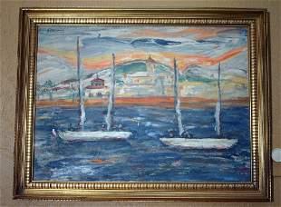 French Riviera Sailboats Gouache by Paul Ackerman