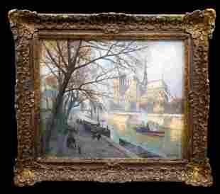 Notre Dame, Paris (1923) Chalk Pastel by Henri Barnoin