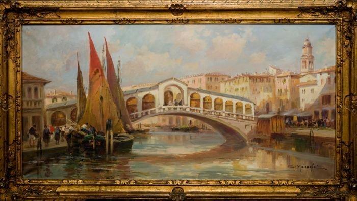 Rialto Bridge in Venice,  by Clemente Mairaghi
