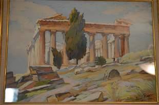 Greek Parthenon Gouache Signed Louis Adolphe Riou