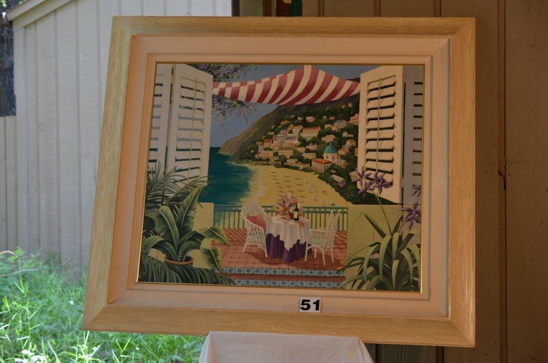 Hand Embellished Riviera Beach Scene Shari Hatchett
