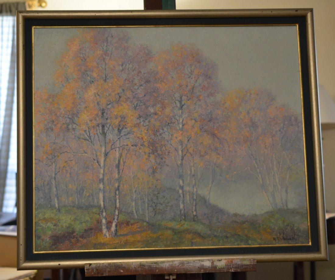 Misty Morning Birch Trees by Raymond Thibesart