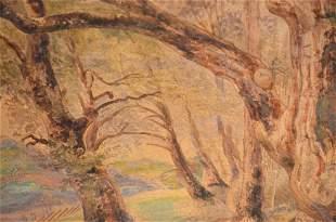 Vibrant Swiss Watercolor -Trees - Johann Burri ca. 1835
