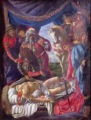 1870 Tempera MIni of Boticelli's Murder of Holofernes