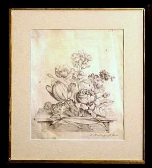 Trompe-l'il Dutch Flowers Still Life Ink-Pencil