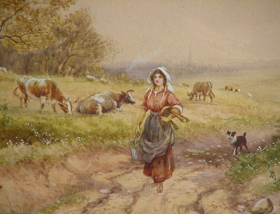 British Landscape with Milkmaid early 20th c.