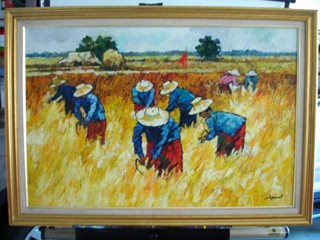 NOPARAT LIVISIDDHI Orig ART Painting FIELD HARVESTERS - 2