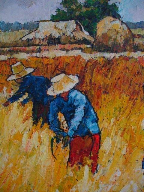 NOPARAT LIVISIDDHI Orig ART Painting FIELD HARVESTERS - 5