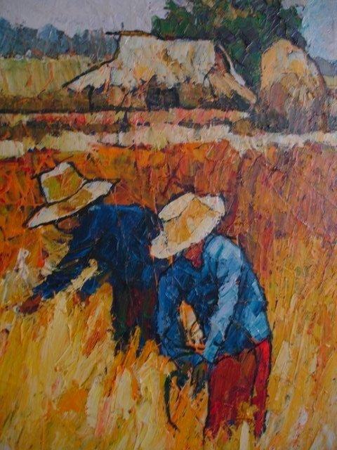 NOPARAT LIVISIDDHI Orig ART Painting FIELD HARVESTERS - 6