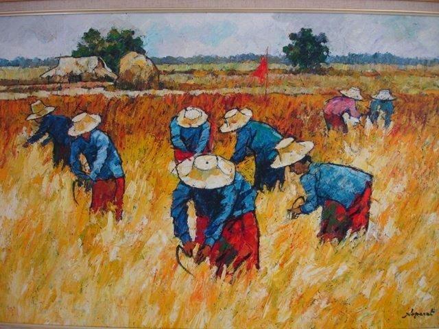NOPARAT LIVISIDDHI Orig ART Painting FIELD HARVESTERS - 7