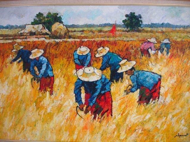 NOPARAT LIVISIDDHI Orig ART Painting FIELD HARVESTERS - 8