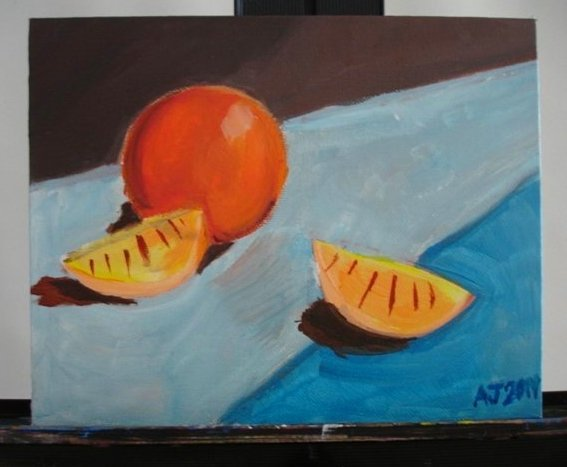 AN ORANGE AND SLICES Original Acrylic Painting