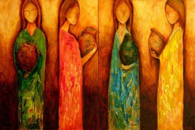 TWO GRACES Original Diptych Oil Painting  Jun Jamosmos