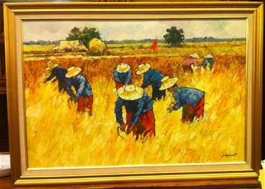 NOPARAT LIVISIDDHI Orig ART Painting FIELD HARVESTERS