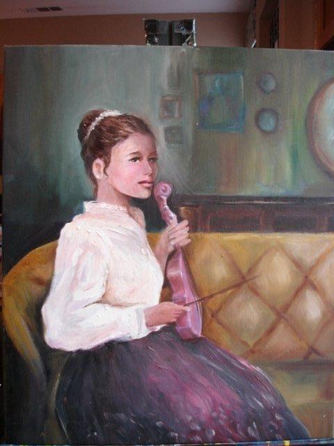 THE PINK VIOLA Original Oil Painting by Jun Jamosmos