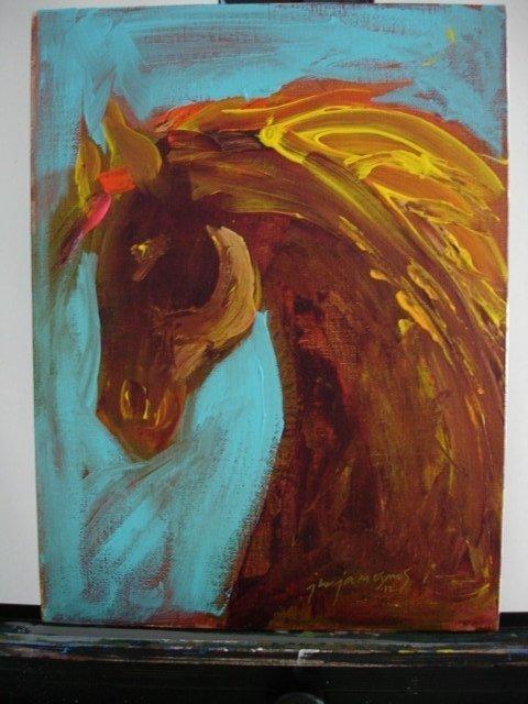 FIERY MUSTANG Original Acrylic Painting by Jun Jamosmos