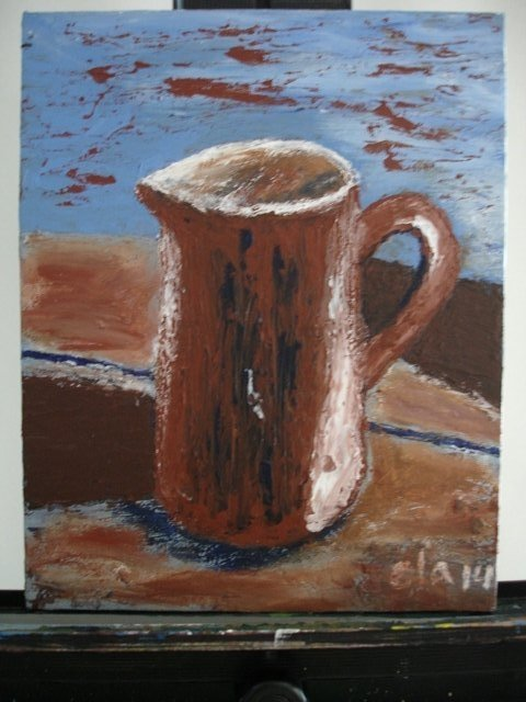 BROWN PITCHER Acrylic Painting by Ela Jamosmos