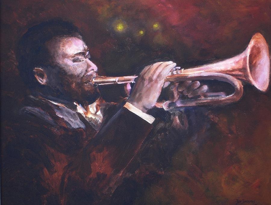 THE JAZZ PLAYER Original Oil Painting by Jun Jamosmos