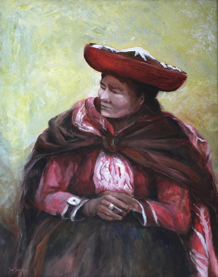 THE RED SHAWL - Original Oil Painting by Jun Jamosmos
