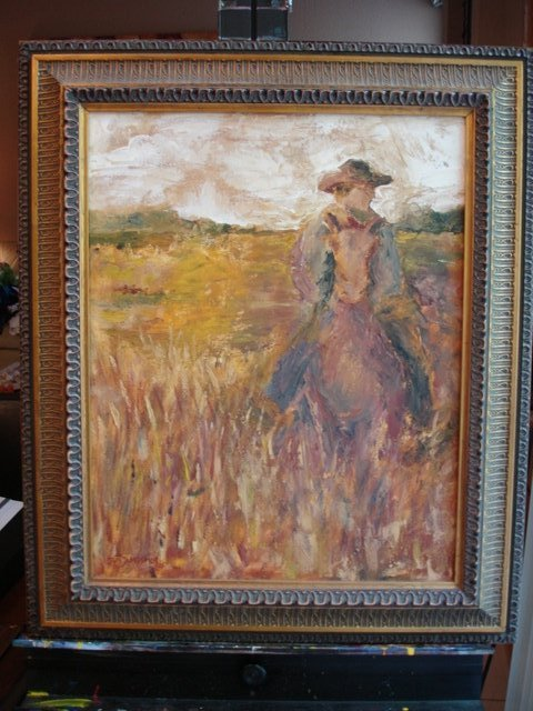 OUT ON THE RANGE Oil Painting by Jun Jamosmos FRAMED