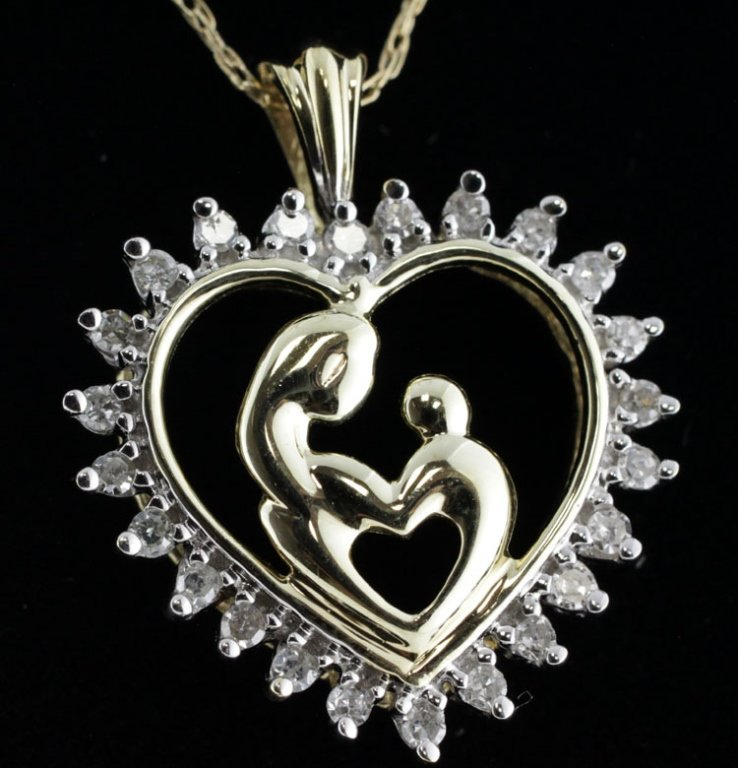 Mother & Child Diamond Heart Pendant with Chain
