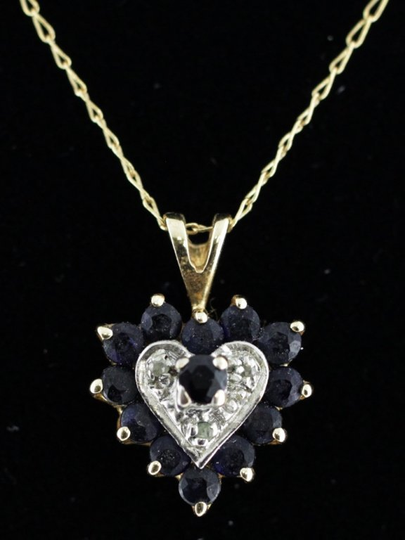 Sapphire & Diamond Heart Pendant with Chain