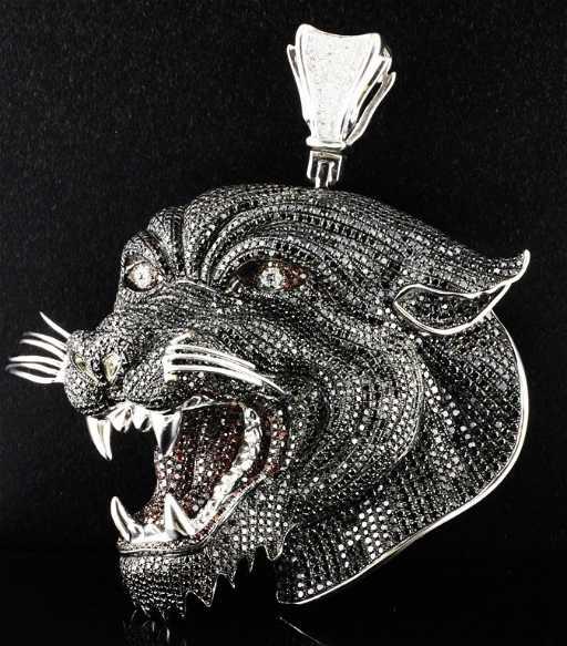 Large ed hardy gold diamond panther pendant ltd aloadofball Image collections