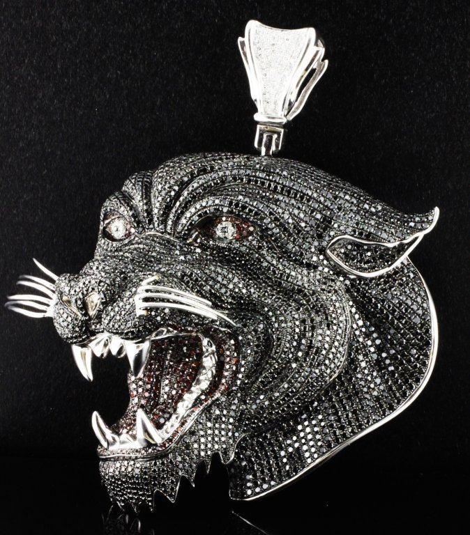 Large Ed Hardy Gold & Diamond Panther Pendant LTD